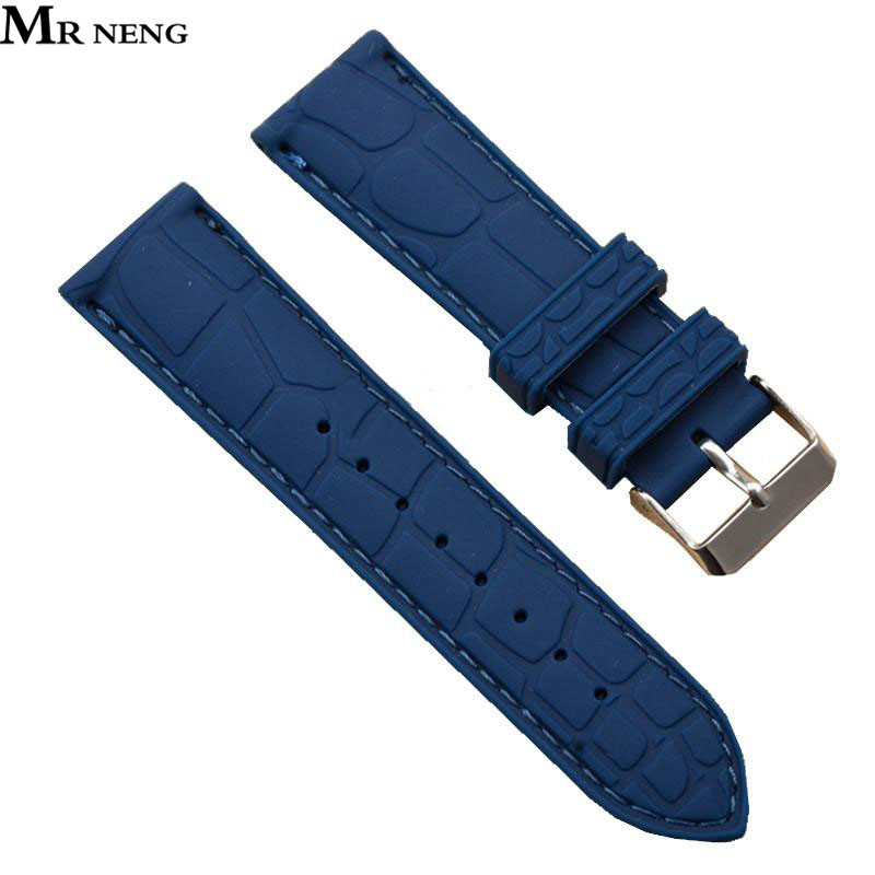 MR NENG Silicone Watch Strap Watch Band Rubber Wrist Watch Bracelet 20mm 22 mm with Stainless Steel Buckle Clasp silicone rubber watch band 15mm 16mm 17mm 18mm 19mm 20mm 21mm 22mm for mido stainless steel pin buckle strap wrist belt bracelet