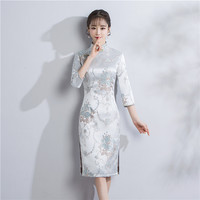 Shanghai Story chinese dresses Chinese Traditional Dress Brocade Qipao Cheongsam dress Knee Length Floral Vintage Dress