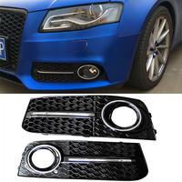 One Pair Black Front Car Grilles for Audi A4/B8 2008 2011 Car Fog Light Cover Grilles Replacement for Car