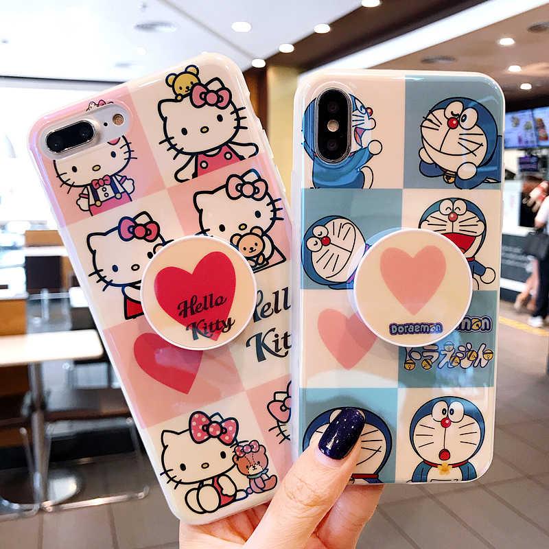 ... Cute Cartoon Doraemon Hello Kitty Air Bag Cell Phone Bracket IMD Case  For iPhone XS XR ... 9a0f8def2a45