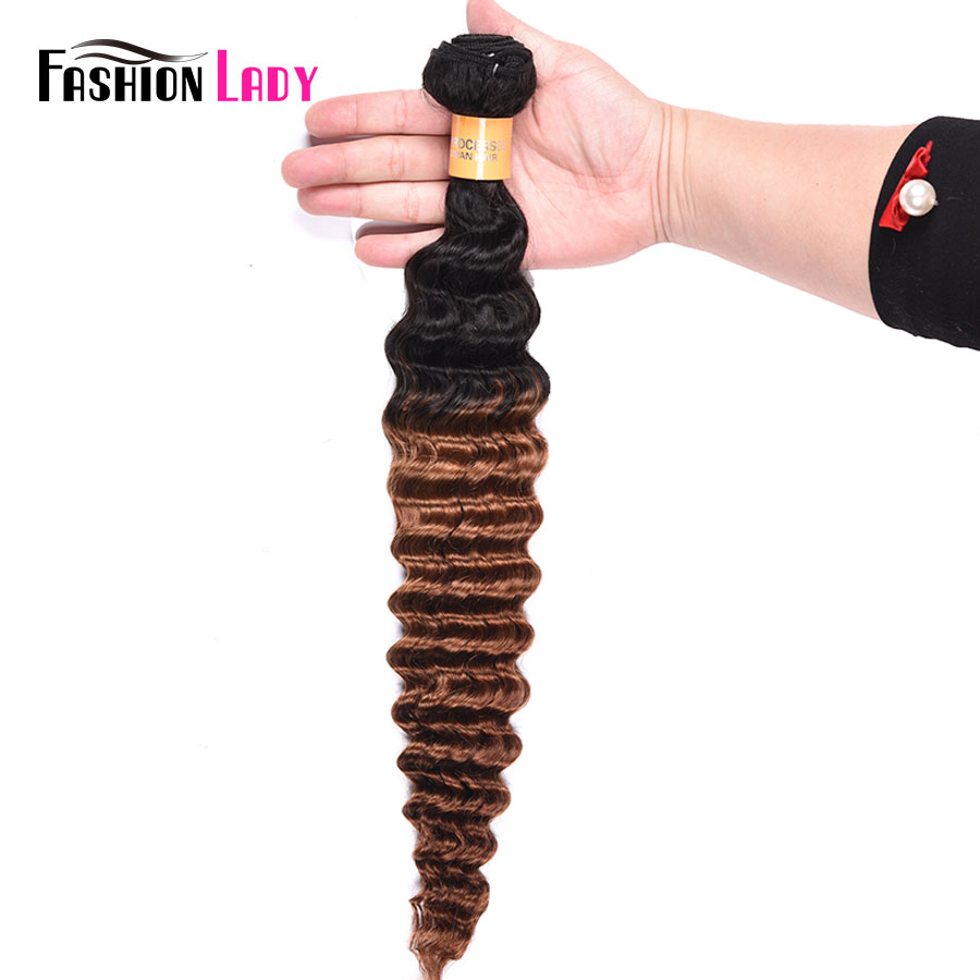 Fashion Lady Pre-Colored Peruvian Human Hair Bundles 1b/30 Ombre Human Hair Bundles 1 Piece Brown Weave Non-remy