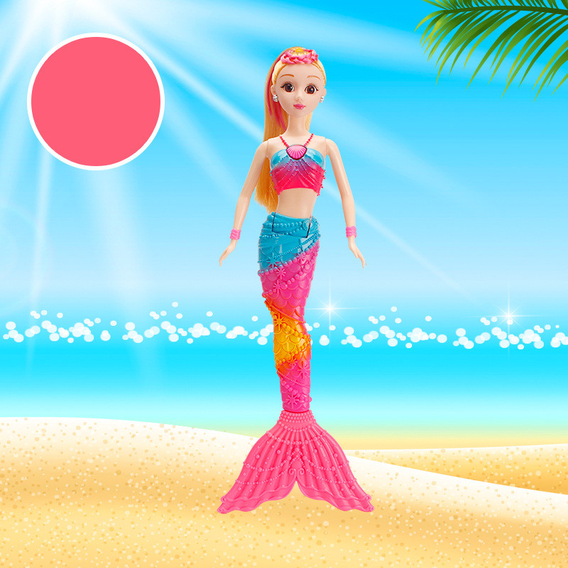 Automatic LED light beauty fish dolls rainbow lights mermaid doll feature unique fashion cartoon priness gift for girl ночники trousselier светильник ночник в форме куба rainbow fish