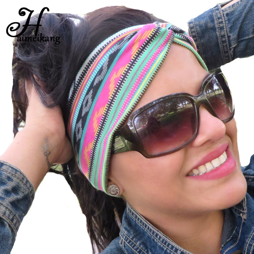 Haimeikang Ethnic Retro Colorful Print Stretch Headband Hairband for Women   Headwear   Cotton Cross Elastic Hair Bands Headdress