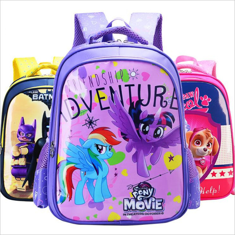 38*26*14cm Cartoon Backpacks Legoing The Avengers Little Horse Elsa Anna Princess Fire Fighting Puppy Kids Children Gifts
