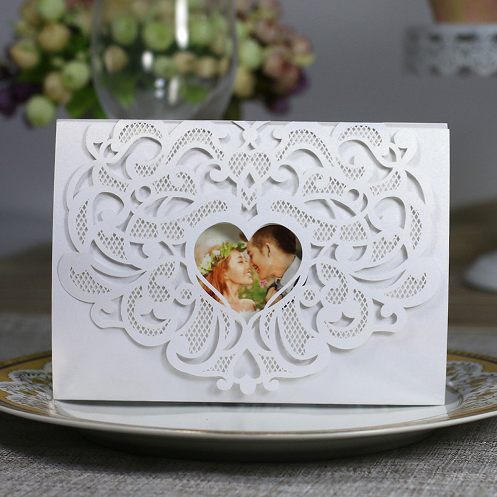 10cs Laser Cut Wedding Invitation Card Kit with Inner Sheet Envelope Heart Carved Pattern Wedding Card Engagement Party Decor