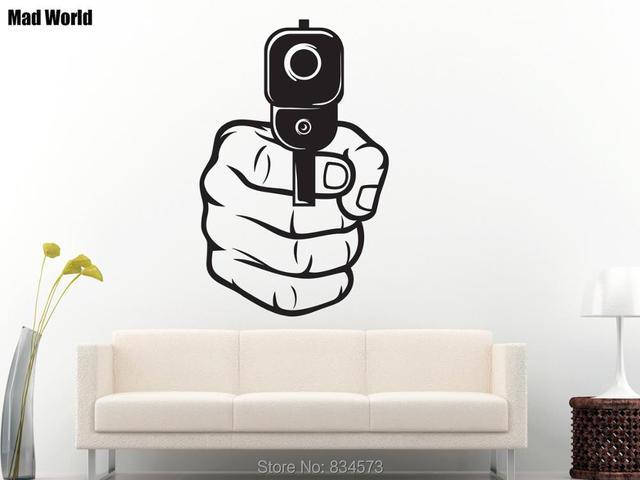 mad world gun shot pistol mens fist wall art stickers wall decal