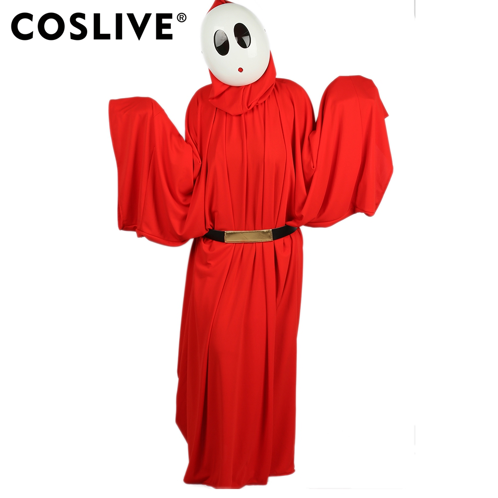 Coslive Super Mario Shy Guy Costume Bright Red Robe with Hood Shy Guy Cosplay Costume For Adult
