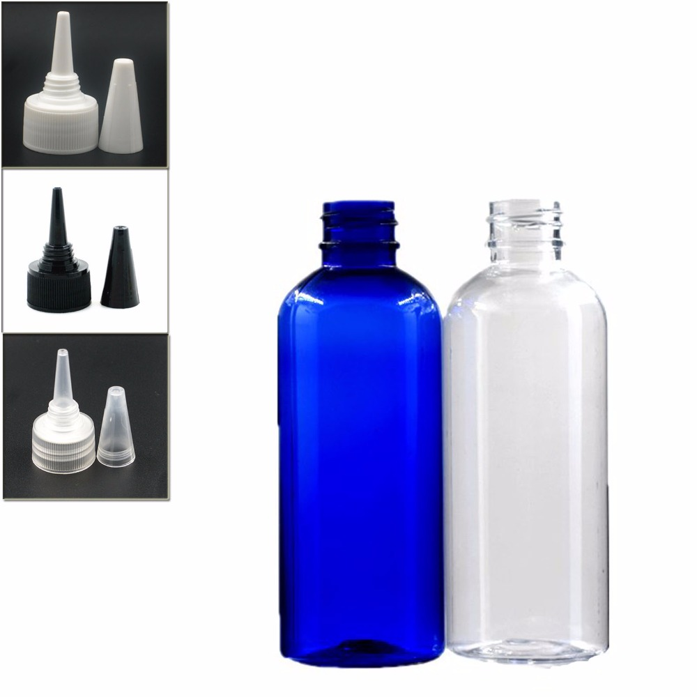100ml Empty Plastic Bottles, Clear/blue Pet Bottle With Transparent/white/black Twist Top Caps Pointed Mouth Top X 5