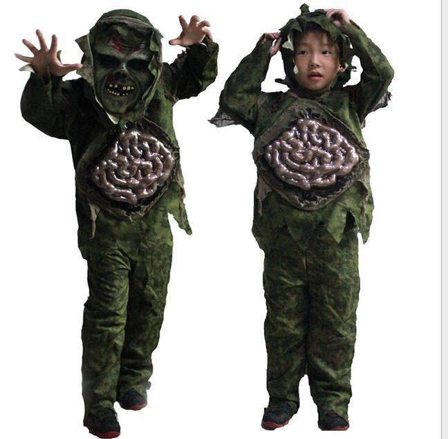 tprpco nios kid boy cosplay de halloween zombie scary ghost intestino grueso traje de pantano de
