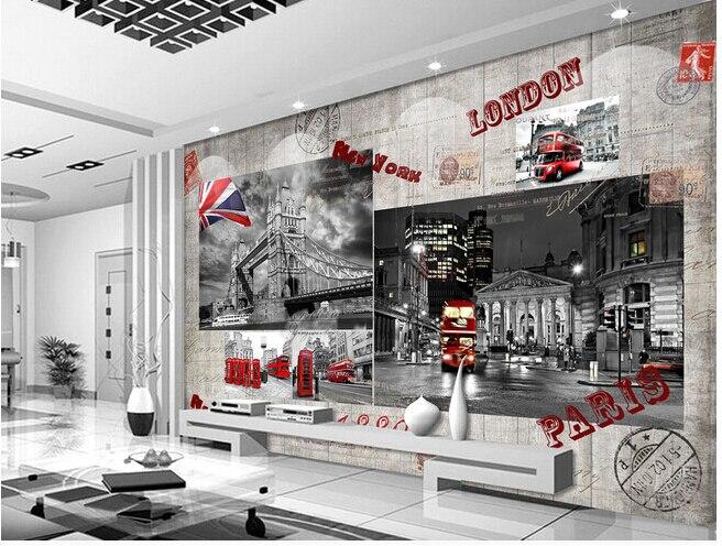 Personnalisé Papier Peint Rétro Murale Rouge London Bus Pour Le Salon Mural  TV Papier Peint En Vinyle Papel De Chambre Parede