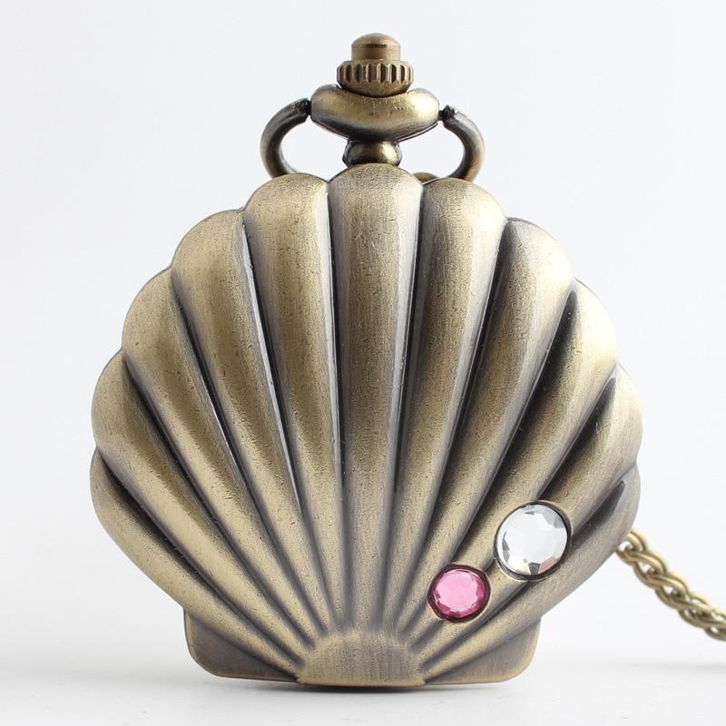 Orologio da tasca a ciondolo analogico al quarzo con quarzo di cristallo a forma di conchiglia di ostriche cozze marrone Orologio FOB da uomo con catena
