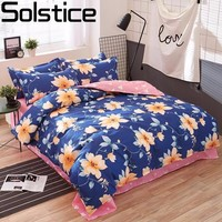 Solstice Home Textile Fashion Pastoral Style 4 Pcs Bedding Set Bed Sheet Duvet Cover Pillowcase Cloud