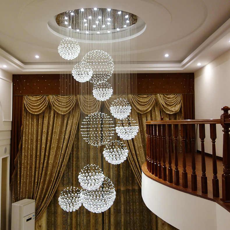 Современная роскошная K9 хрустальная люстра освещение большие светодиодные свисающие светильники хрустальные лампы