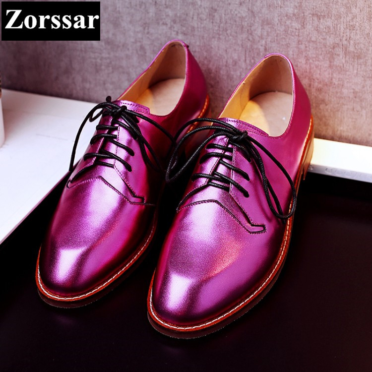 Women Genuine leather Vintage Flat Oxford Shoes Woman flats 2017 Fashion lace up British style Brogue Oxfords women shoes golden qmn women genuine leather flats women square toe brogue shoes woman typical british style real leather oxfords 34 40