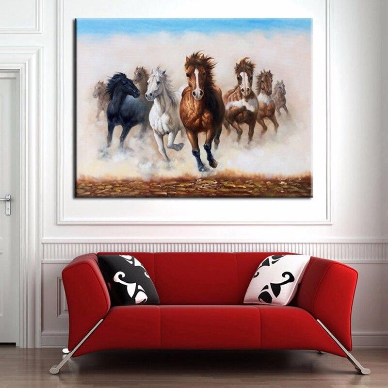 Nuova Cina Artista Parete dipinta A mano Pura Pittura A Olio Decorativa Otto Cavalli Foto Painting Per Soggiorno