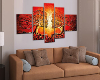 Cherish Art 100% Hand Painted Oil Paintings Gift Lovers Kiss Tree 5 Panels Wall Picture For Home Decor