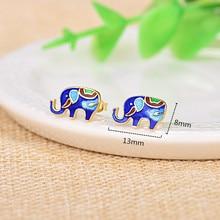 925 Sterling Silver Stud Earrings Vivid Cloisonne Elephant Beautiful Enamel Earring for Women National Ethnic Jewelry