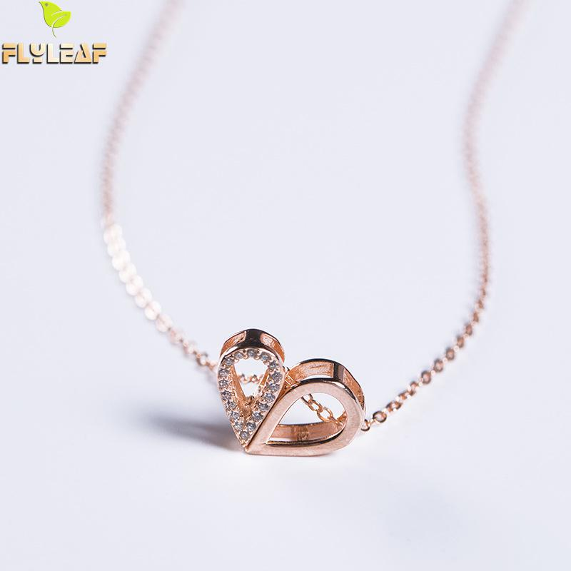 100% 925 Sterling Silver Cubic Zirconia Rose Gold Color Hollow Heart Necklaces & Pendants For Women Flyleaf Fashion Jewellery