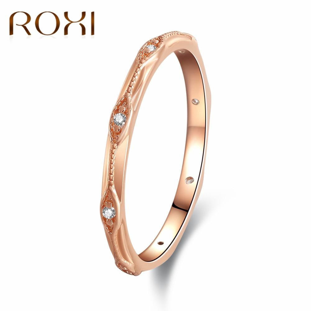 f29d6324e5b7 ROXI moda mujer ronda anillos de dedo para las mujeres amante boda joyería  Partido de moda circón Cristal de oro rosa anillo anillos mujer