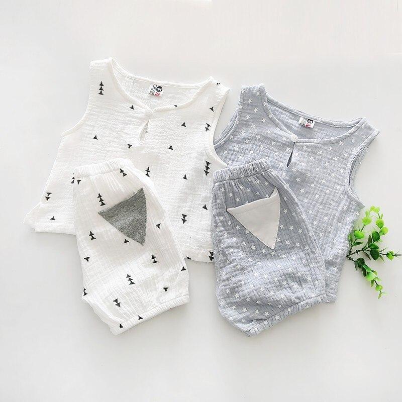 2018 Детская одежда на лето Набор Дети милые звезда дерево без рукавов с принтом для мальчиков и девочек топы и шорты Двойка наряды