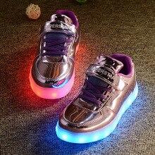 Мода Дети светодиодные Обувь Дети Кроссовки Модные USB Зарядки Световой Подсветкой Мальчик Девочка Спортивная Обувь chaussure LED enfant.
