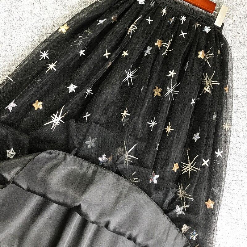 2019 New Tulle Skirt Women Embroidery Sequins Mesh High Waist Skirt Female Spring summer Casual A line Tutu Women 39 s Skirt in Skirts from Women 39 s Clothing