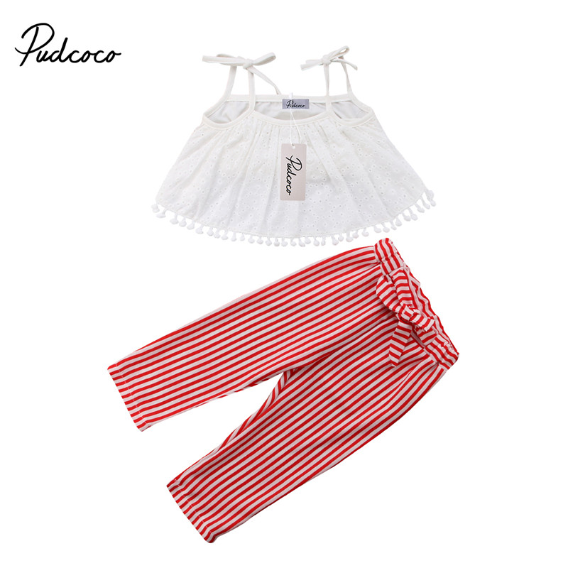 pudcoco 1-6Y Summer Toddler Kids Baby Girl Strap Hollow white halter Tops +Bow Striped Long Pants Outfits clothes set