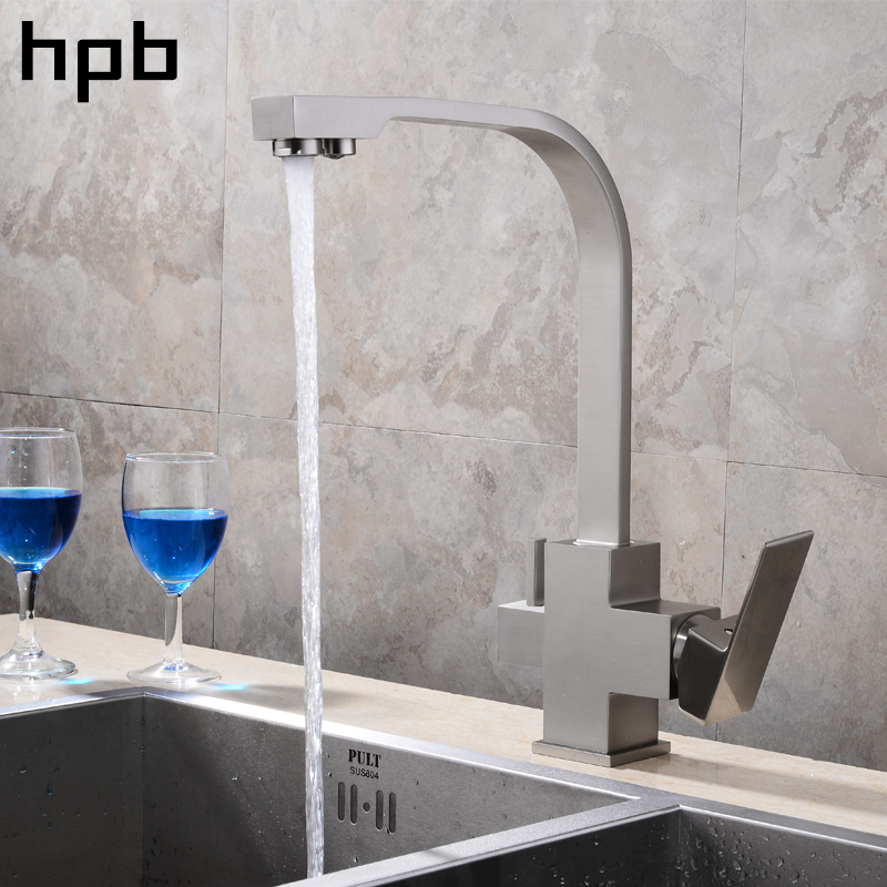 HPB 3 Way Water Filter Tap Newly Chrome Swivel Solid Brass Mixer Kitchen Faucet Ro-water Tri Flow 2 holes Faucets HP4301 sognare 100% brass marble painting swivel drinking water faucet 3 way water filter purifier kitchen faucets for sinks taps d2111