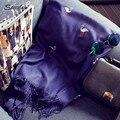 Nueva Pequeña Grúa bordado de cachemira mantón de la bufanda para las mujeres 2017 Nuevo Azul larga de la borla de la señora del mantón de la cachemira femenina pashimina D134