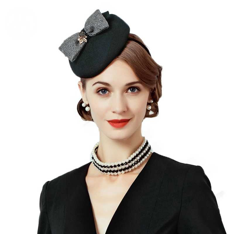 أسود قبعة مصنوعة من الصوف النساء كوكتيل صغيرة مستديرة القبعات خمر Fascinator الزفاف قبعة مع Bowknot السيدات الرسمي حزب الكنيسة كاب