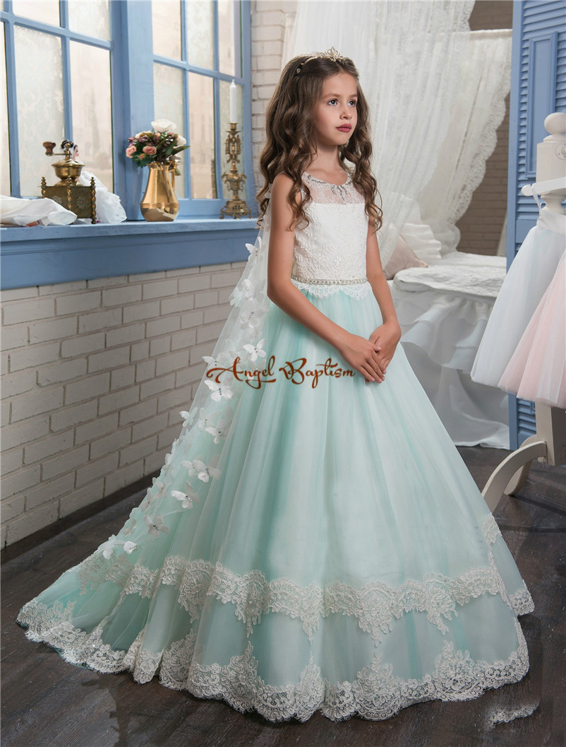 2018 New Princess Mint and white Flower Girls' Dresses Sheer Crew Neck appliques bead Formal Girl's Pageant Dresses with train hengjia 32pcs 3 5g fishing lure worm jighead hook for bass fishing hook soft bait artificial lure