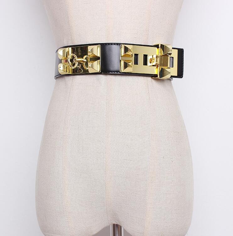 Women's Runway Fashion Rivet PU Leather Punk Cummerbunds Female Dress Corsets Waistband Belts Decoration Wide Belt R1413