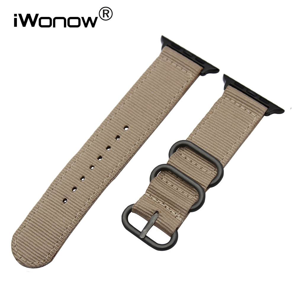 Premium Nylon Watchband + Upgraded Adapter for iWatch Apple Watch 38mm 42mm Series 1 2 3 Sports Band Fabric Strap Wrist Bracelet survival nylon bracelet brown