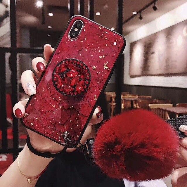 S10 блеск DIY меховой шарик для волос + Хрустальная подвеска + ремешок чехол для телефона samsung S8 S9 S10 Plus Note 8 9 для iphone 7 8Plus XS MAX XR
