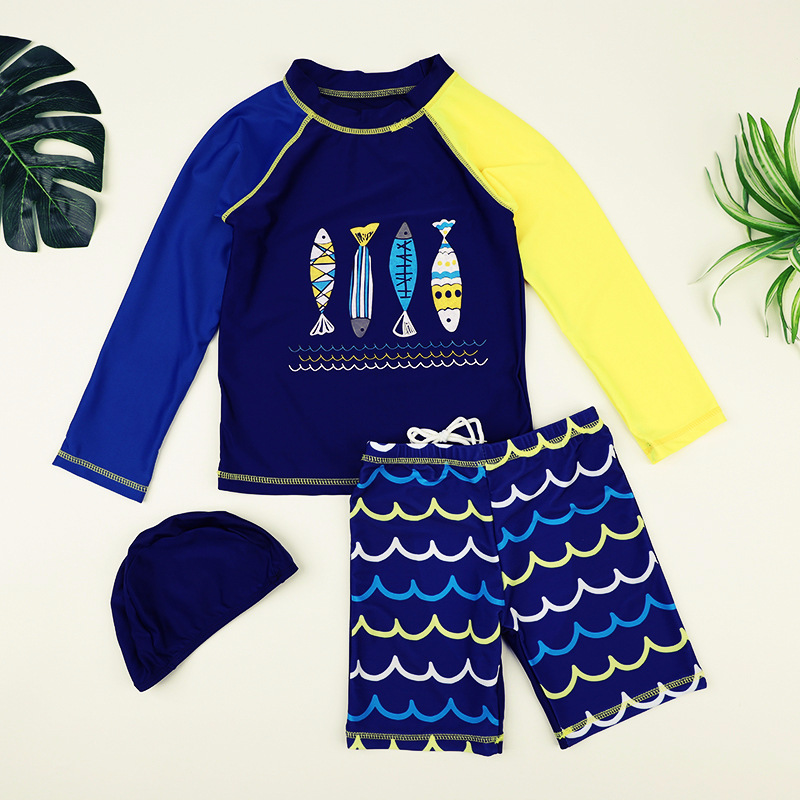 Boys Two Piece Swimsuit Navy Sports Long Sleeve Swimming Suit Kid Boy Swimwear Large Size Bathing Suit Fish Print Swimsuits