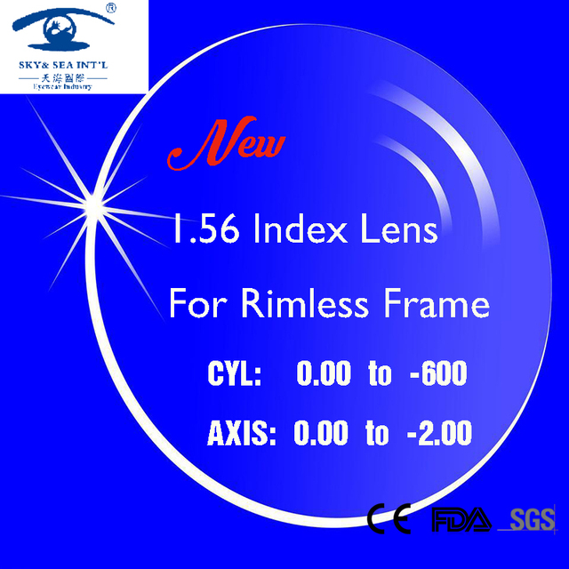 SKY&SEA OPTICAL New 1.56 Index Prescription Lens for Rimless Frame Glasses lentes opticos Spectacle Lenses Men Women