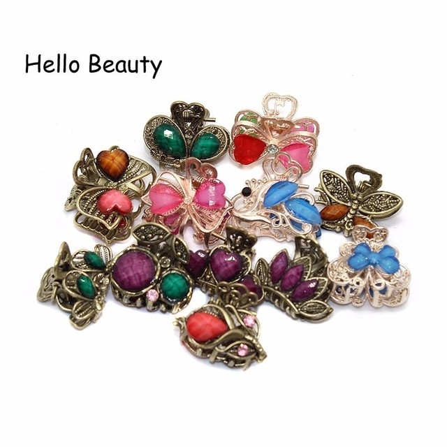 12 PCS Vintage Metal Crystal Flower Butterfly Mini Hair Claws Small Rhinestone  Hair Jaw Clip Charm Hair Accessories For Women f24959c083c9