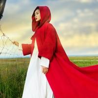 MM043 Original Design Autumn 2016 Vintage oversized hooded overcoat women long maxi trench coat linen