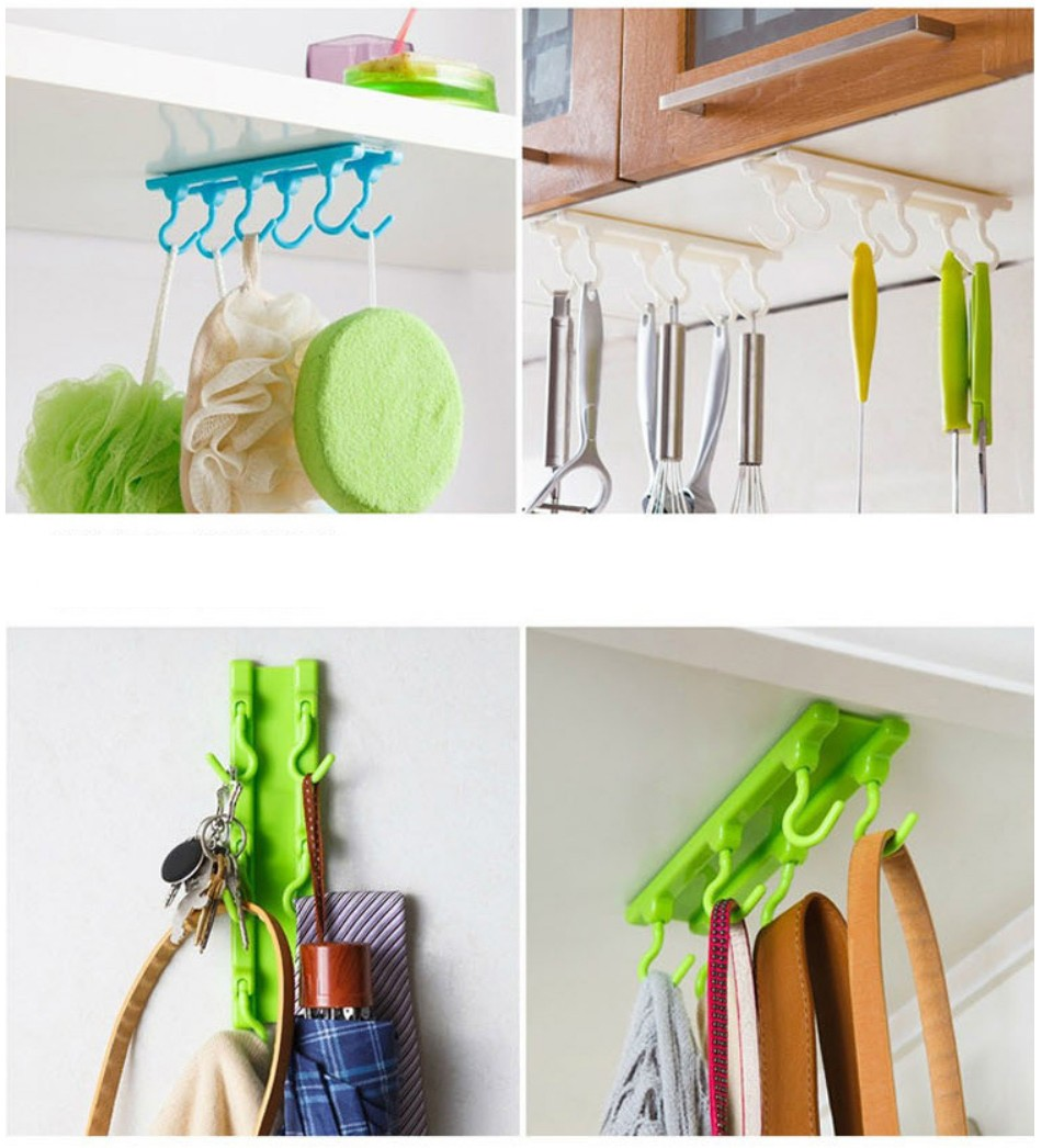 4 Color Kitchen Cabinet Wall Cabinet Hook Kitchen Storage Strong Sticky Hooks Up Wall Rails Free shipping U0543 6