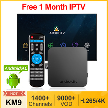 IPTV 프랑스 아랍어 KM9 안드로이드 9.0 스마트 Tv 박스 4G 32G/64G 1 개월 IPTV 벨기에 모로코 네덜란드 터키 알제리 프랑스어 IP TV