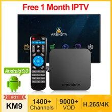 Iptv frança árabe km9 android 9.0 smart tv box 4g 32g/64g 1 mês iptv bélgica marrocos países baixos turquia argélia francês ip tv