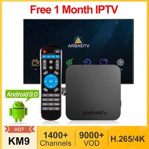 Image 1 - Iptv frança árabe km9 android 9.0 smart tv box 4g 32g/64g 1 mês iptv bélgica marrocos países baixos turquia argélia francês ip tv