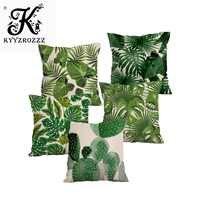 Тропические растения пальмовый лист зеленые листья Monstera Чехлы для подушек цветок Гибискус декоративная бежевая льняная наволочка