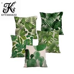 Plantas tropicais folhas de palmeira folhas verdes monstera coxim cobre hibisco flor capa de almofada decorativa bege linho fronha