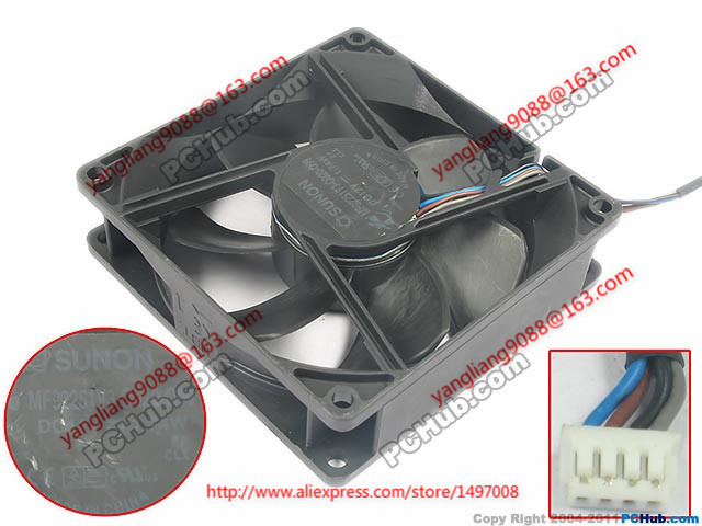 Free Shipping For  SUNON MF92251V3-Q020-Q99 DC 12V 1.74W 4-wire 4-pin connector 90mm 92x92x25mm Server Cooling Square fan free shipping for delta afc0612db 9j10r dc 12v 0 45a 60x60x15mm 60mm 3 wire 3 pin connector server square fan