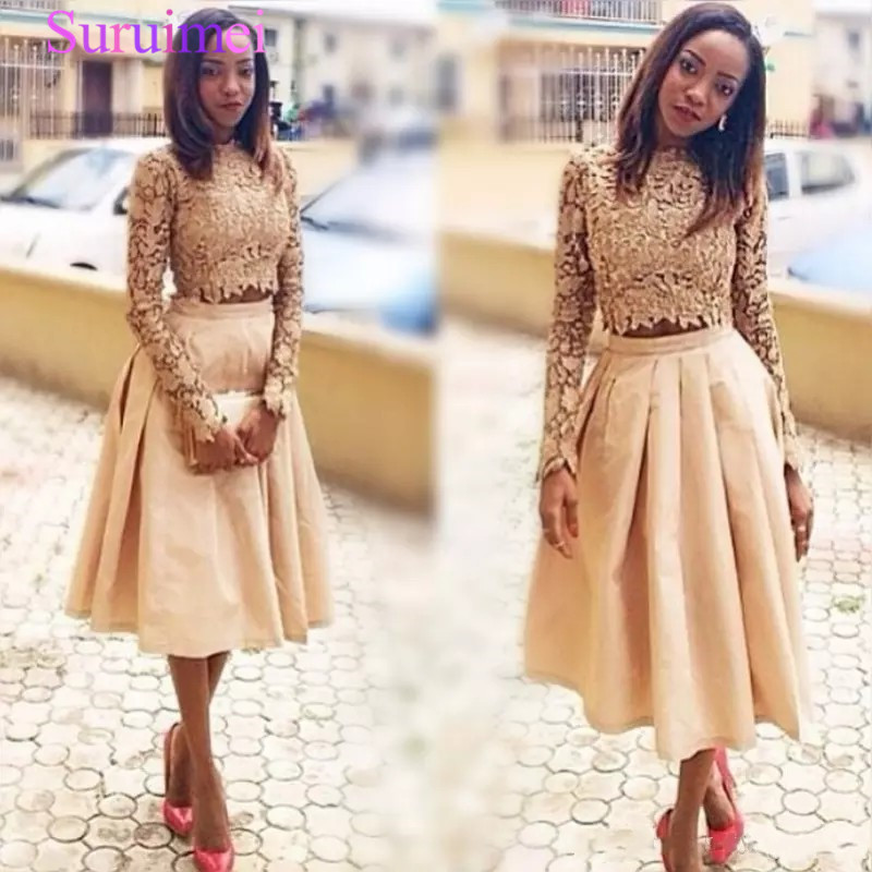 Gold Two Pieces Prom Dresses Lace Long Sleeves Top And Satin Skirts Evening Gown Tea Length Black Girl Formal Party Dress Cheap