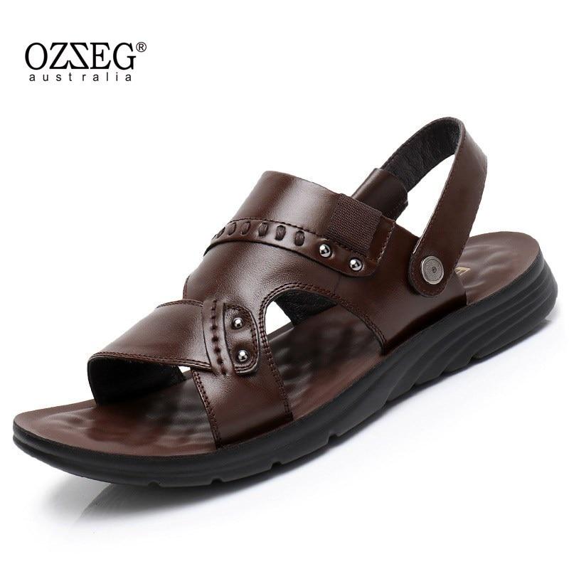 Men Sandals Cow Leather Black Brown Men Summer Shoes Breathable Beach Sandals Fashion Men Shoes Soft