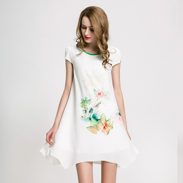 New Chiffon Dresses Simple And Stylish European American Hand Painted Temperamental Loose Casual