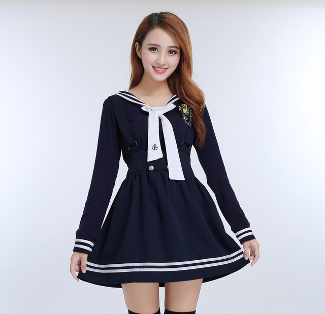 Japanese school uniforms for Girls Students Clothes Navy sailor school uniforms for Cosplay girls suit 2 Pcs / Set gown