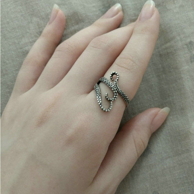 2pcs Octopus Adjustable Rings For Womens Mens FATPIG Personality Rock Ring Squid